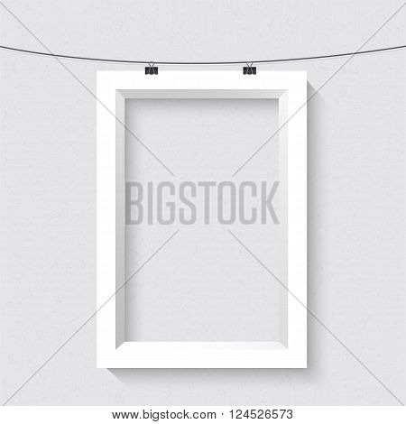 Illustration of Vector Portrait Frame Mockup. Realistic Vector EPS10 Frame on the Wall Poster Template