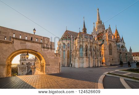 Roman Catholic Matthias Church and Fisherman's Bastion in Early Morning in Budapest Hungary