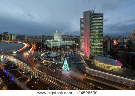 Government of Russian Federation, river and christmas tree at night in Moscow, long exposure