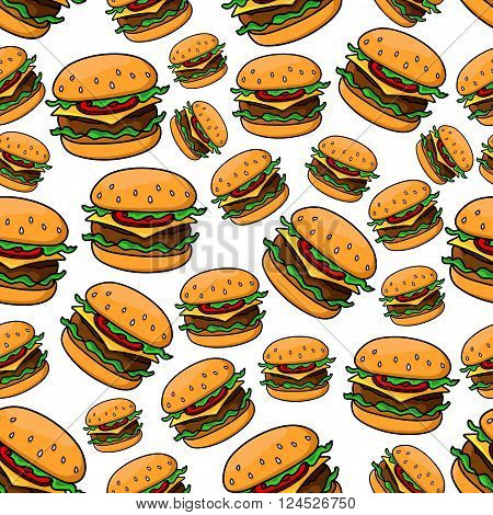 Seamless pattern with tasty fast food cheeseburgers on wheat bread rolls, topped with grilled patties of ground beef, tomatoes, lettuce and slices of cheddar cheese. Fast food theme