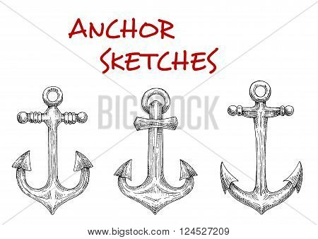 Old fashioned nautical anchors with decorative stock rods. Sketch style. Navy heraldic symbol, marine and adventure themes
