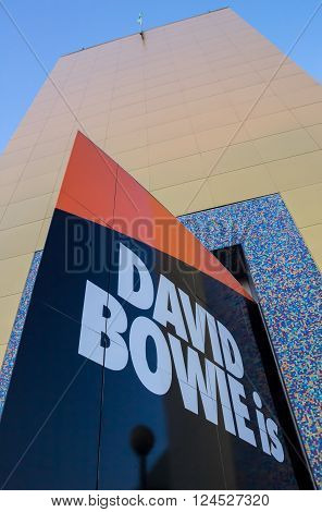 GRONINGEN, NETHERLANDS - APRIL 4, 2016: Closup of the building of the Groningen museum with exhibition dedicated to David Bowie