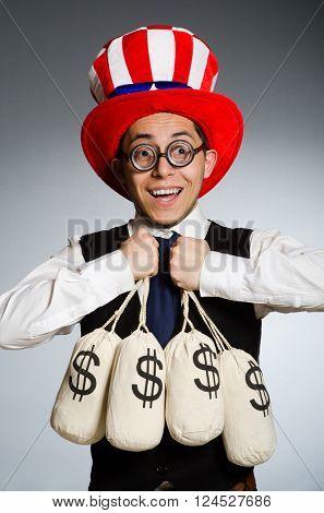 Man with dollar money sacks