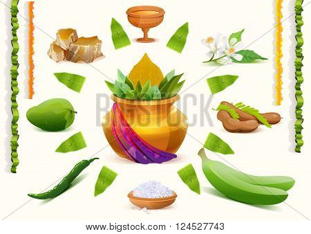 Happy Ugadi. Set Holiday accessories. Gold pot. Isolated on white vector illustration