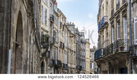 A typical street of Bordeaux Aquitaine. France.