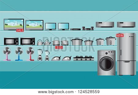 Electronics store interior laptops television Computers fan Toaster refrigerator washing machine kettle rice cooker air conditioner Iron and blender fruit on shelf vector illustration.