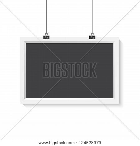 Illustration of Vector Horisontal Poster Frame Mockup. Realistic Vector EPS10 Paper Poster Set Isolated on White Background