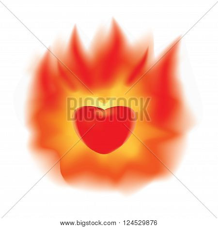 The stylized image of a burning heart