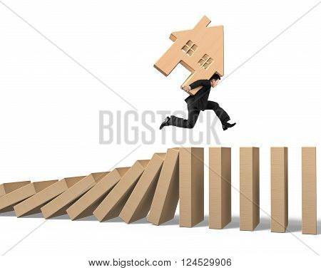 Man carrying wooden house running on falling wood dominos isolated on white background, 3D Illustration.
