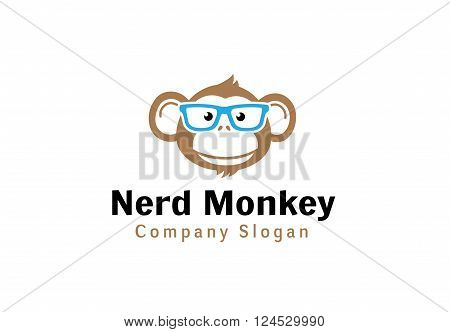Nerd Monkey Creative And Symbolic Logo Design Illustration