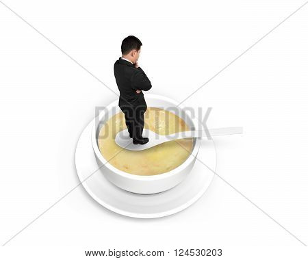 Thinking man standing on spoon in the soup isolated on white background, 3D Illustration.