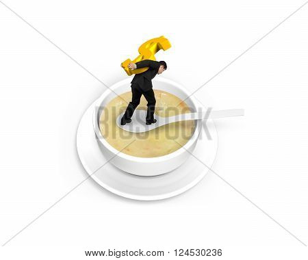 Man carrying golden dollar sign and balancing on spoon in the soup isolated on white background, 3D Illustration.
