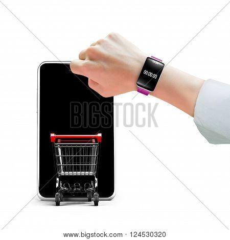 Hand Wearing Smart Watch With Shopping Cart Entering Smartphone Screen