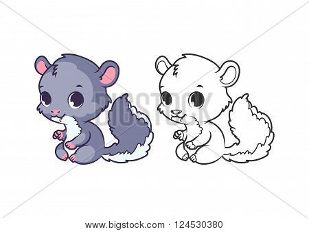 Cute little chinchilla. Cartoon vector character isolated on a white background with black outline.