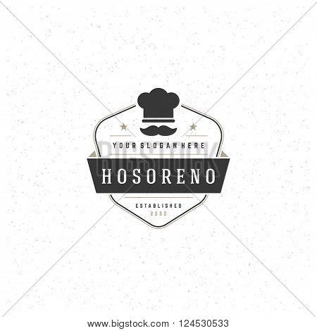 Restaurant Logo Template. Vector Design Element Vintage Style for Logotype, Label, Badge, Emblem. Chef Logo, Restaurant Label, Cafe Logo,  Retro Logo, Chef Cook Hat Symbol.