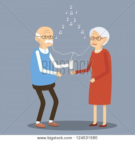 Elderly couple listening to music in the smartphone. Old people using modern technology. An elderly man and woman smiling listening to music through earphones and a mobile phone. Vector illustration. Flat design characters.