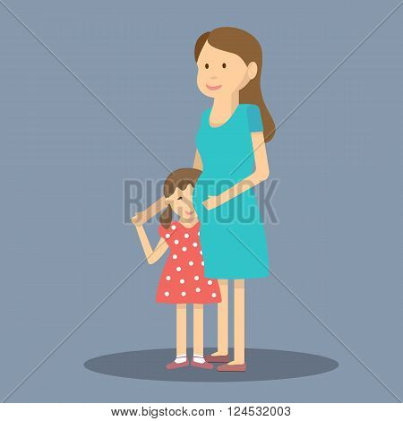 Pregnant woman with daughter. Pregnant mother and her child. Happy Mothers Day celebration. Vector illustration flat design
