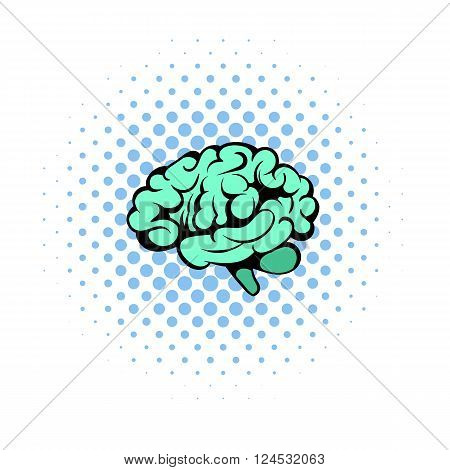 Human brain icon in comics style on a white background