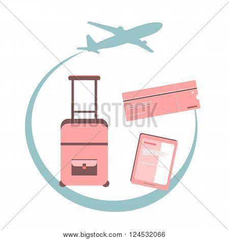 Travel concept illustration. Airplane fly around the planet Earth. Concept of international business travel and tourism. Vector Illustration. Flat design. Logo. Illustration of travel with elements in the plane, ticket, suitcase, smartphone, tablet, onlin