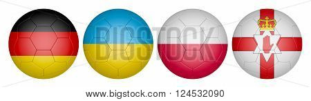balls with flags of the Championship group c, 3d render.