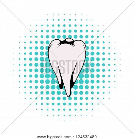 White tooth icon in comics style on a white background
