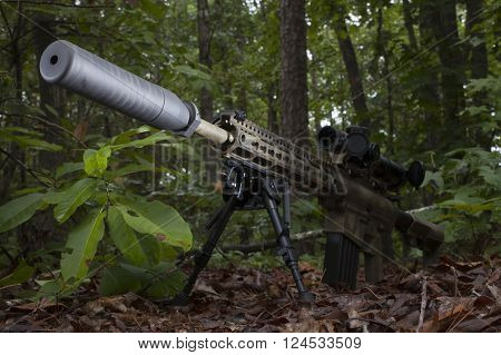 Modern sporting rifle with a suppressor in a forest