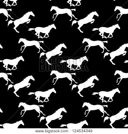 White horse seamless pattern on blackboard. Background with Equine sports theme. Running and jumping herd of horses. Vector seamless pattern with horses