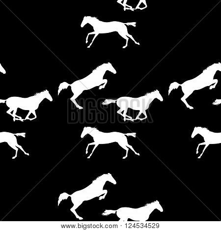 Seamless pattern with silhouette of horse. Horse racing image for background banners flyers. Vector seamless pattern with horses. White horse seamless pattern on blackboard