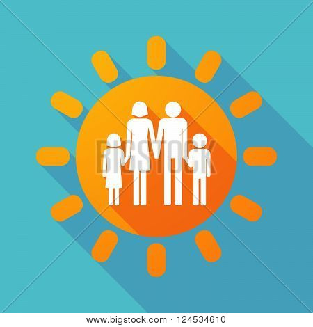 Long Shadow Sun With A Male Single Parent Family Pictogram
