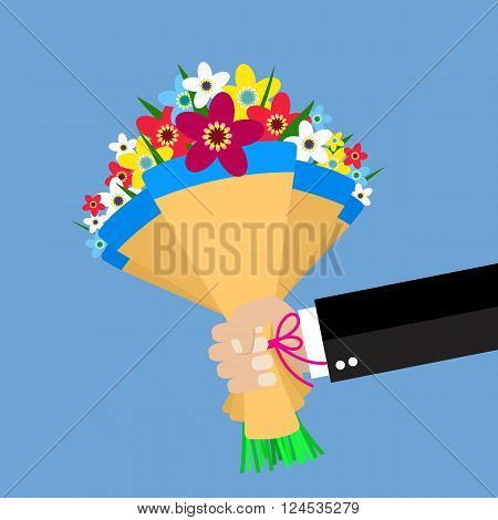 cartoon businessman hand holding bouquet  flowers. vector illustration in flat design . Beautiful wedding congratulation bouquet isolated on background. Wedding bouquet flat style