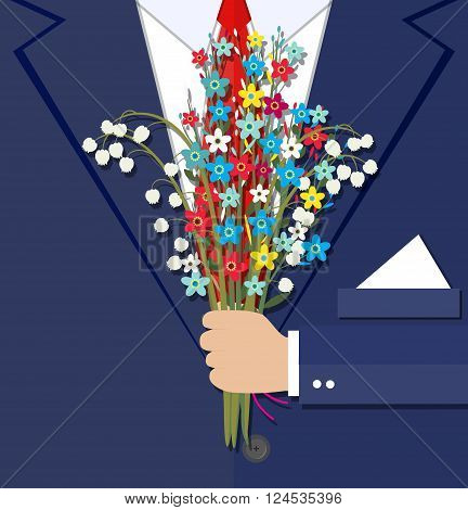 cartoon businessman hand holding bouquet  flowers. vector illustration in flat design . Beautiful wedding congratulation bouquet. Wedding bouquet flat style