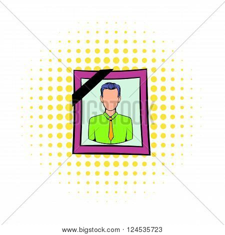 Photo of deceased icon in comics style isolated on white background. Photo portrait in frame and with black ribbon for funeral