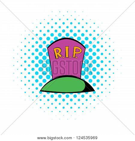 Purple grave icon in comics style isolated on white background