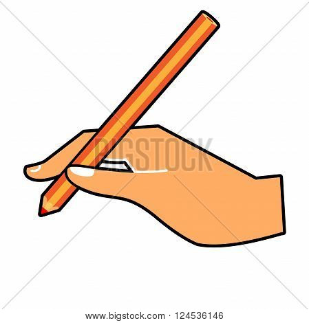 Hand with a pencil. Vector illustration of a hand writing. Vector hand with a pen wrote on a horizontal surface isolated on white