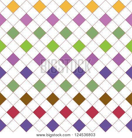 Grid with varicolored squares. Seamless vector pattern