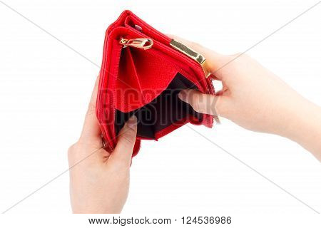 Female hands with an empty wallet isolated on white background