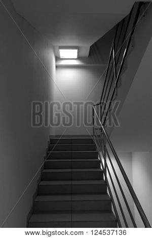 Generic view of stairs with metal trailings grey scale photo
