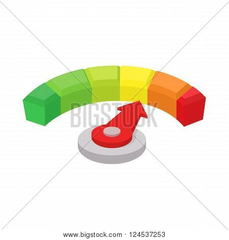 Speedometer or general indicator icon in cartoon style isolated on white background