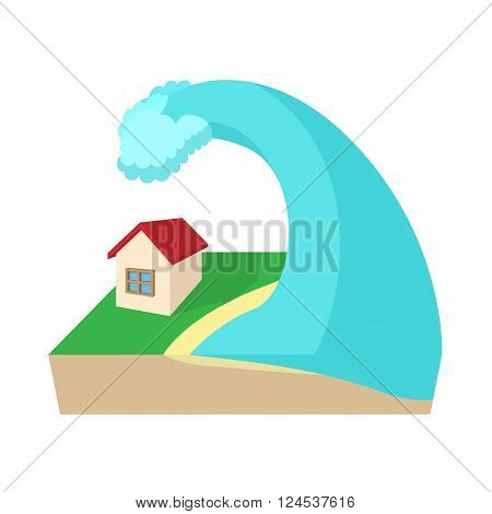 Big wave of tsunami over the house icon in cartoon style on a white background