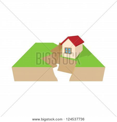 House after an earthquake icon in cartoon style on a white background