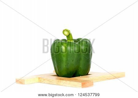 Green bel paper vegetarian ripe paprika spice isolate on white background