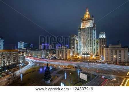 Ministry of Foreign Affairs building with illumination at winter dark night in Moscow, Russia