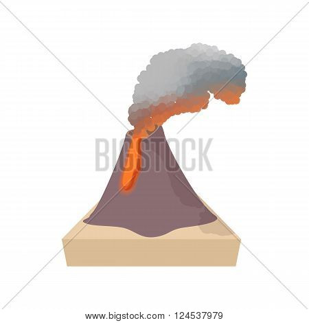 Volcano erupting icon in cartoon style on a white background