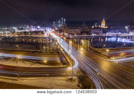 Bridge of Bogdan Khmelnitsky on Moskva river in winter evening in Moscow, Russia