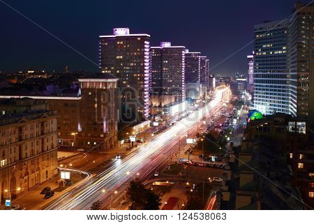 Night beautiful Highway New Arbat in Moscow, Russia, long exposure