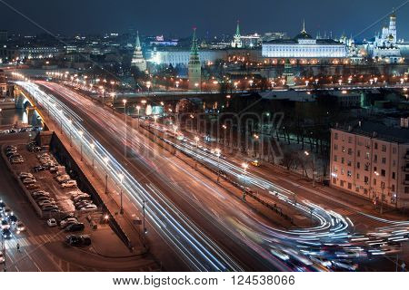 Big Stone Bridge, Grand Kremlin Palace, Tower of Kremlin at night in Moscow, long exposure