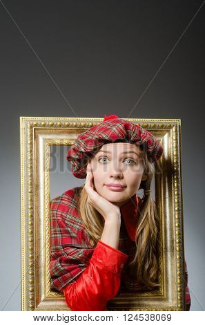Woman in scottish clothing in art concept