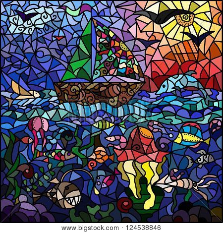 Stained-glass window on the marine theme. Ship sky sun birds sea. fish marine animals sea floor.