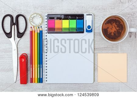flat lay: notebook and stationery office set