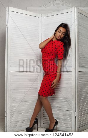 Sensual attractive mulatto woman posing in red dress and fashion high heels shoes